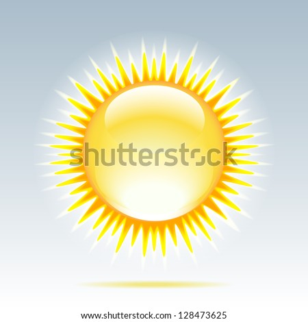 Weather icon - shiny sun in the sky. - stock photo