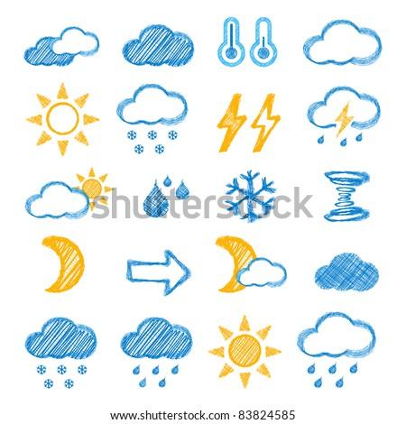 Weather icons doodles hand drawn set on white - stock photo