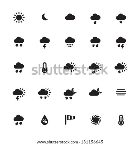 Weather icons on white background. See also vector version.