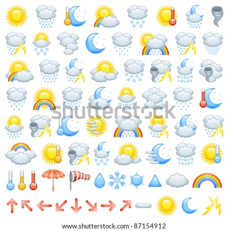 Weather icons (raster icon set) - stock photo