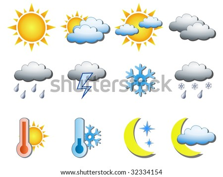 Weather icons. See vector version in my portfolio.