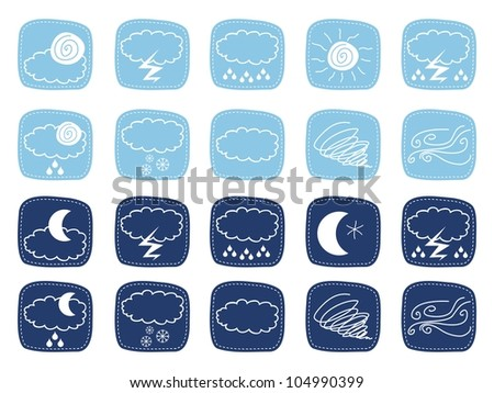 Weather icons set with various atmospheric phenomena - stock photo