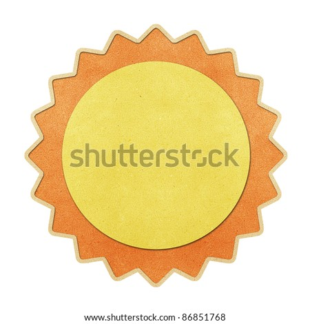 Weather recycled papercraft on white paper background - stock photo