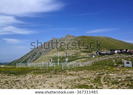 Weather station in the high mountains. Kazakhstan, Trans-Ili Alatau - stock photo