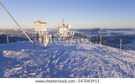 weather station in winter, Ceahlau mountain of Romania