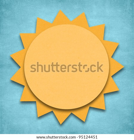 Weather sunny day icon grunge recycled papercraft - stock photo