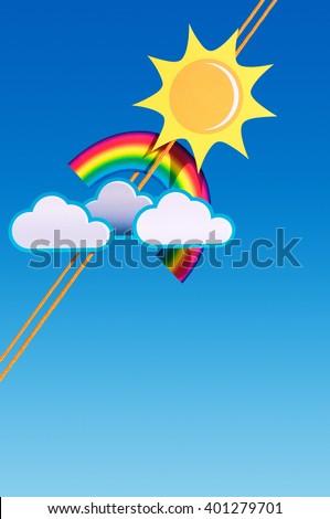 Weather Symbols Fixed On Rope Against Stock Illustration 401279701
