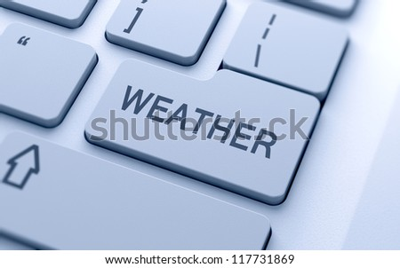 Weather word button on keyboard with soft focus