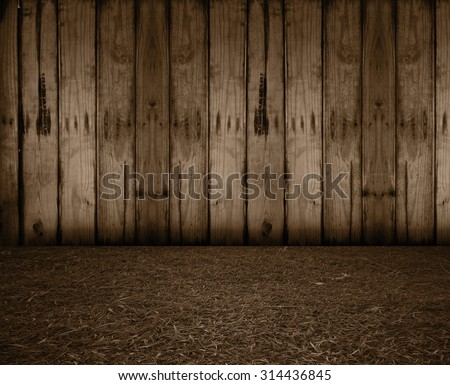 weathered barn wood background with knots. old wood. grass floor. sepia - stock photo