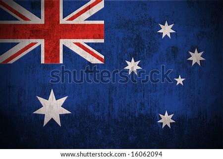 Weathered Flag Of Australia, fabric textured - stock photo