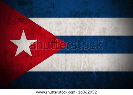 Weathered Flag Of Cuba, fabric textured - stock photo