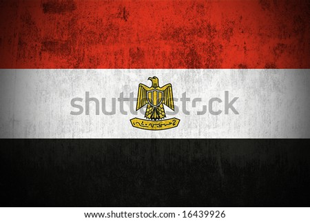 Weathered Flag Of Egypt, fabric textured - stock photo