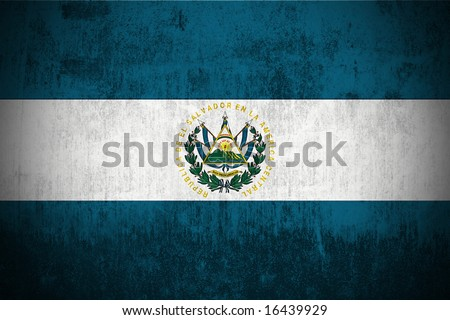 Weathered Flag Of El Salvador, fabric textured - stock photo