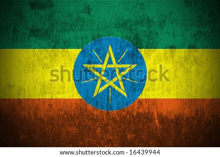 Weathered Flag Of Ethiopia, fabric textured - stock photo