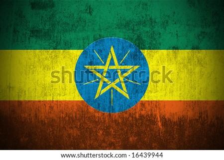 Weathered Flag Of Ethiopia, fabric textured - stock photo
