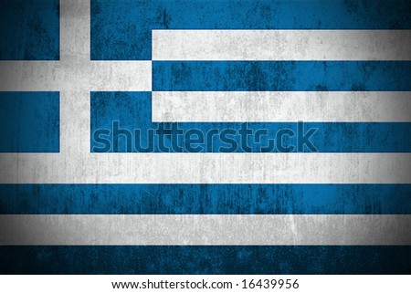 Weathered Flag Of Greece, fabric textured - stock photo