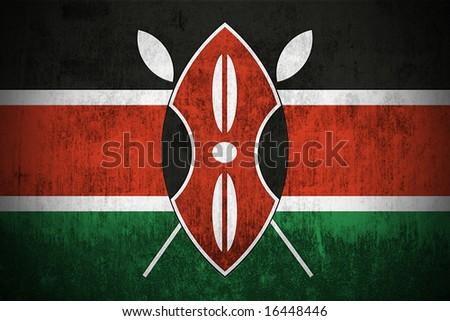 Weathered Flag Of Kenya, fabric textured - stock photo