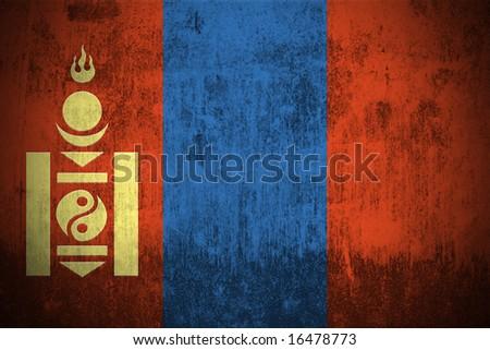 Weathered Flag Of Mongolia, fabric textured - stock photo