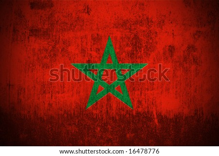 Weathered Flag Of Morocco, fabric textured - stock photo