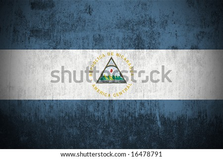 Weathered Flag Of Nicaragua, fabric textured - stock photo