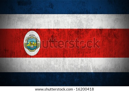 Weathered Flag Of Republic of Costa Rica, fabric textured - stock photo