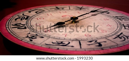 weathered international clock face