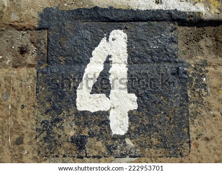 weathered number - stock photo
