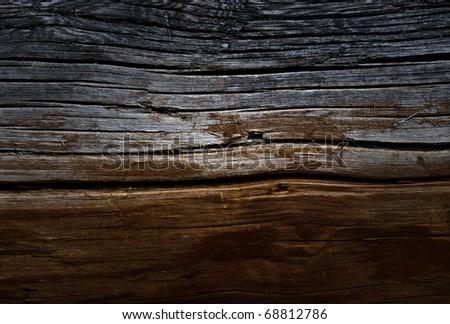Weathered obsolete rough textured wooden grunge background - stock photo