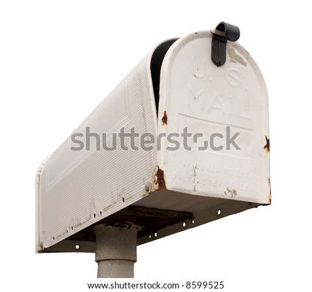 Weathered Old Mailbox Isolated on a White Background - stock photo