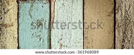 weathered painted wood planks background  - stock photo