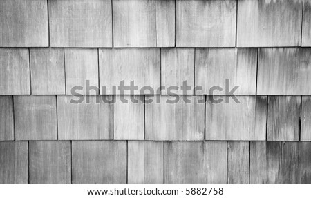 Weathered Shingle Background in Black and White. - stock photo