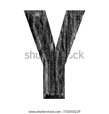 Weathered silver metal uppercase or capital letter Y in a 3D illustration with a dark gray metallic chrome color aged old worn and cracked bold font isolated on a white background with clipping path.