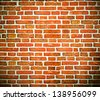 Weathered texture of stained old red brick wall background, grungy rusty blocks of stone-work technology, colorful horizontal architecture - stock photo