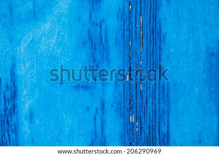 Weathered timber with old blue painting - stock photo