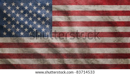 Weathered USA flag grunge rugged condition waving - stock photo