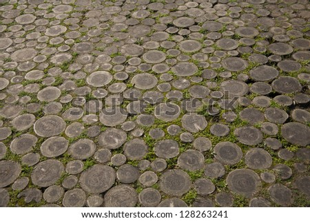 weathered wood floor/weathered wood - stock photo