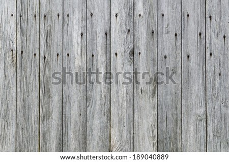 Weathered Wood Plank Barn Siding Background with Rusty Nail-heads. - stock photo