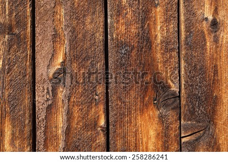 Weathered wood plank of an old cabin, great background and texture, details - stock photo