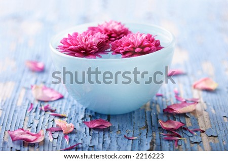 weathered wood with bowl of water and flowers - stock photo