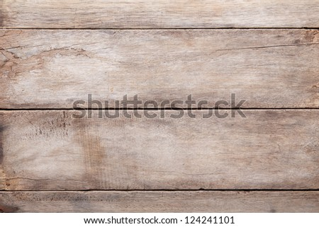 Weathered wooden table background, top view - stock photo