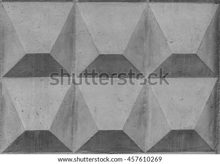 Weathered worn grey concrete fence with square patter texture background. Industrial wallpaper. Vintage effect. - stock photo