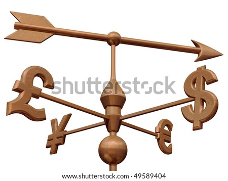 Weathervane with currency symbols showing the direction of the money markets