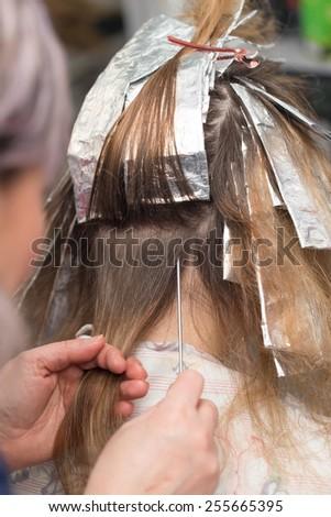 weave hair in beauty salon - stock photo