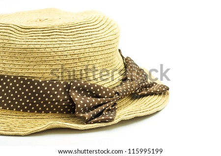 weave hat, brown weaving hat with brown ribbon. - stock photo