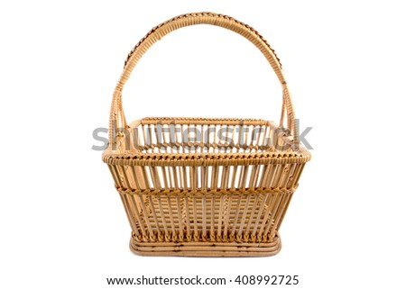 Weave old rattan basket isolated on  white background - stock photo