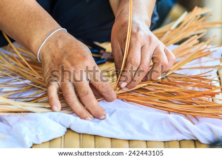 Weave pattern hand bamboo, Bamboo weaving  - stock photo