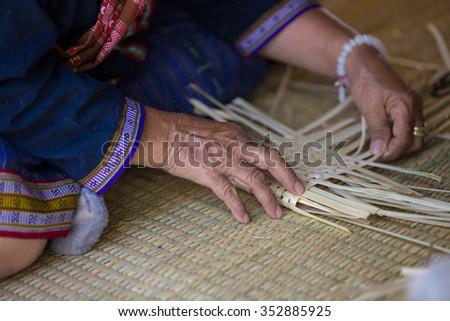 Weave pattern hand bamboo, Bamboo weaving - stock photo
