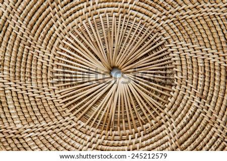 Weave pattern rattan background.Woven rattan by handmade - stock photo