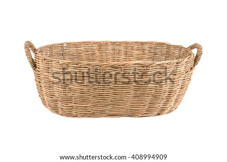 Weave rattan basket with handles isolated on white background - stock photo
