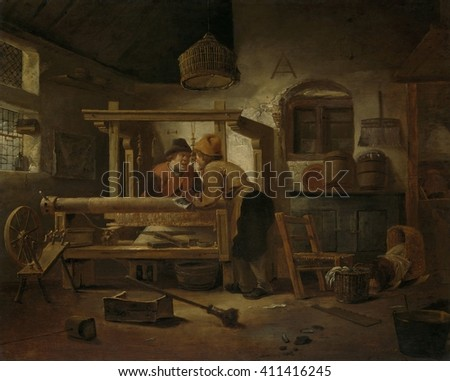 Weaver's Workshop, Cornelis Gerritsz Decker, 1659, Dutch painting, oil on panel. Two weavers have a conversation at a loom. At left is a spinning wheel, and at right a crib indicating the shop is in